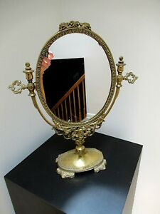 Vtg Ornate Solid Brass Ornate Victorian Style Vanity Table Stand Up Mirror
