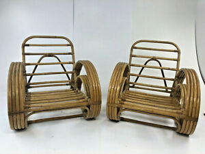 Vintage Bamboo Chair Pair Mid Century Modern Boho Chic Bentwood Patio 50s Frankl