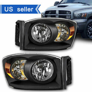 Fit 2006 2008 Dodge Ram 1500 06 09 2500 3500 Black Headlights Lights Left right