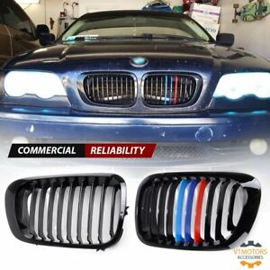 For 1999 2002 Bmw M3 E46 328i 325ci 330ci Gloss Black M Color Front Kidney Grill