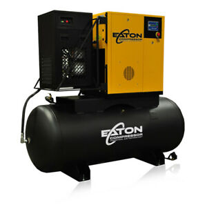 20hp Rotary Screw Air Compressor With Dryer Package 240 Gallon Tank 3 Phase 230v