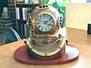 Diving Helmet Ship S Clock Brass Copper W Hardwood Base 7 5 High X 9 5 Wide