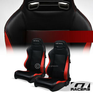 Universal 2p T R Sport Blk Red Pvc Leather Stitch Reclinable Racing Bucket Seats