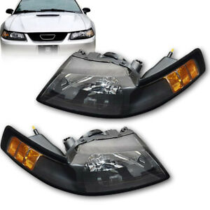 For 1999 2004 New Edge Ford Mustang Headlights Lamps Black Clear Left right