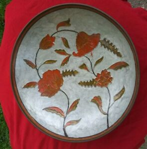 Rare Vintage Made In India Brass Cloisonne Bowl With Enamel Inlay Flowers