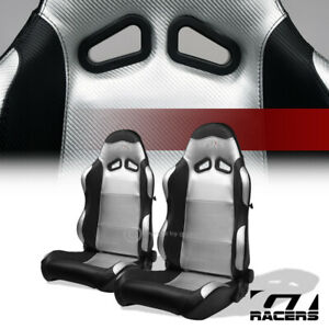 Universal 2pc Sp Black Silver Pvc Leather Stitch Reclinable Racing Bucket Seats