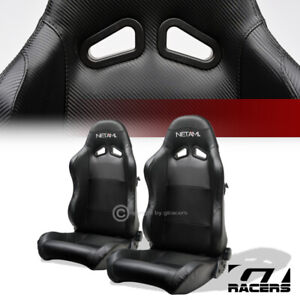 Universal 2pc Sp Sport Black Pvc Leather Stitch Reclinable Racing Bucket Seats