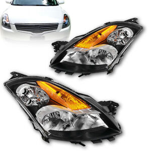 For 2007 2009 Nissan Altima 4dr Black Clear Crystal Headlights Pair Replacement