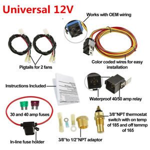 3 8 npt Switch Car Dual Electric Fan Wiring Harness 185 165 Thermostat 40a Relay