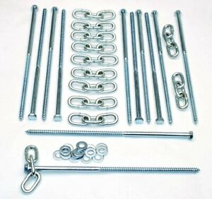 12 Pc Lag Screws 3 8 X 12 Tent Stakes Festival Kit With Chain Links And Washers