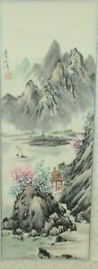 Chinese Original Watercolor Mountain Blossoms Landscape Scroll Painting Signed