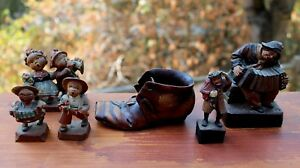 Old Antique Hand Carved Wood Wooden Men Women Shoe Lot Anri Black Forest