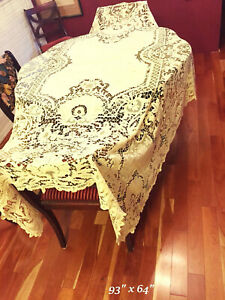 Antique Lace Hand Made Tablecloth Figural Cherubs Cream Yellow 92 X 62