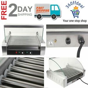 Hot Dog 11 Roller Grill Cooker Machine Stainless Sausage Rollers Commercial 30