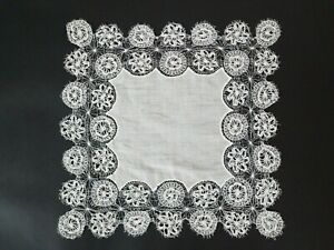 Antique Vintage Exquisite Spanish Tenerife Lace Wedding Handkerchief
