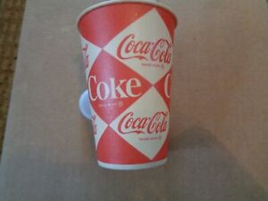 VINTAGE COCA COLA DIAMOND CHECKERED PAPER CUP - ORIGINAL! 7 OZ SIZE