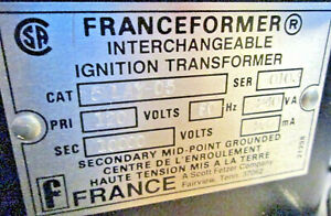 New In The Box Franceformer Interchangeable Ignition Transformer 5lay 05