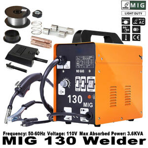 Mig 130 Welder Flux Core Wire Automatic Feed Welding Machine W Free Mask 110v
