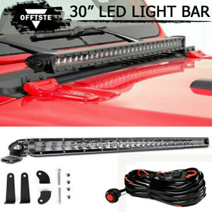 150w 30 Led Light Bar Front Hood Top Remote Wire Kit For 18 Jeep Wrangler Jl