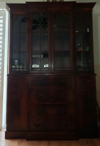 Vintage Mahogany Breakfront China Cabinet With Butler S Desk Priced To Sell