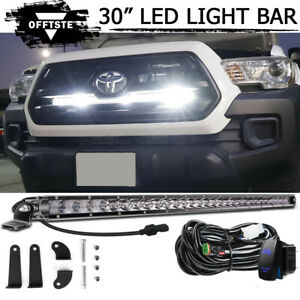 Silm 30 Led Light Bar Behind Grille Mounting Wiring For 2016 up Toyota Tacoma