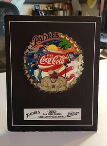 San Diego Padres 2002 Coca-Cola Collector Mounted Puzzle 9 Pin Set Memorabilia
