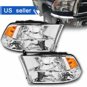 anti fog 2009 2018 Dodge Ram 1500 2500 3500 Chrome Quad Headlights Left right