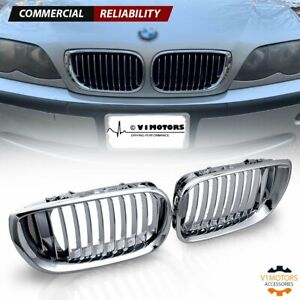 Front Bumper Kidney Grill Chrome For 2002 2005 Bmw E46 320i 330i 325xi 4dr Sedan