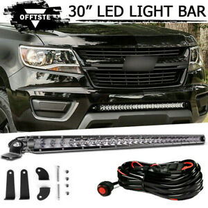 30 Led Light Bar Bumper Offroad Lights Wiring For 15 Gmc Canyon Chevy Colorado