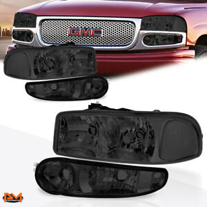 For 01 07 Gmc Sierra Yukon Denail Smoked Clear Corner Headlight Set Bumper Lamps