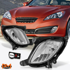 For 10 12 Hyundai Genesis Coupe Clear Lens Front Bumper Fog Light lamp W switch