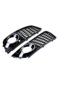 2x Black Honeycomb Mesh Fog Light Vent Grille Rs4 Style For 2008 2012 Audi A4 B8
