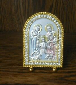 Metal Stamped Religious Figures Small Framed Picture Vintage Mint