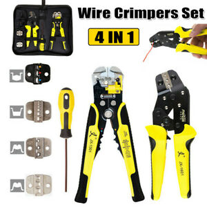 4 In 1 Wire Crimpers Ratcheting Crimping Terminal Pliers Cord End Hand Tool Kit