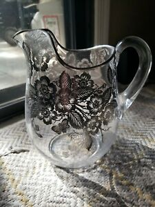 Vintage Silver Depression Glass Overlay Pitcher Ornate Flowers