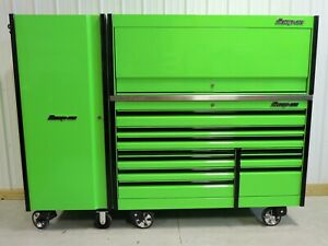 Snap On Extreme Green 68 Epiq Tool Box Stainless Top Hutch Full Size Locker