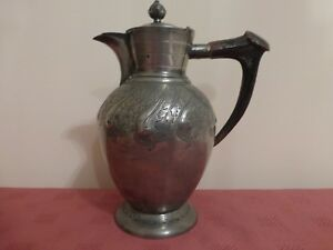 Vintage Decorated With Engraved Pewter Lidded Jug With Antler Horn Handle
