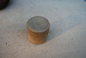 Small Primitive Antique Covered Sewing Basket