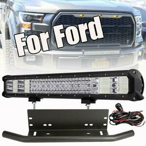 Quad Row 20 Led Light Bar Front Bumper License Plate Mount Bracket For Ford