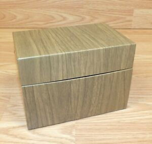 Brown Wood Style Metal Vintage Index Card Holder Box Only read