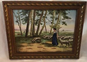 Antique French Signed L Carre Porcelain Painted Plaque Shepardess With Sheep