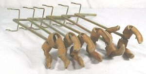 Vtg Pegboard Hooks Leather Wrapped Guitars Musical Instruments Holder Lot Of 6