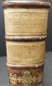 Unique 1773 French Dictionary With Crystal Decanter Flask Cups Interior