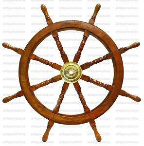 36 Ship Wheel Brass Wooden Ship Steering Vintage Wall Boat Nautical Decor Gift