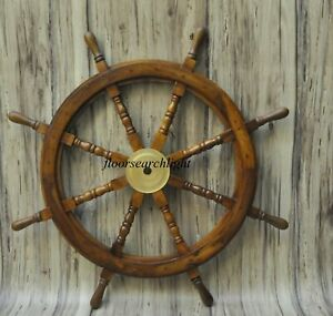 Ship Steering Wheel Wooden 36 Vintage Pirate Boat Wall Decor Wood Brass Fishing