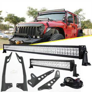 52 22 Led Light Bar windshield Hood Mount Bracket For Jeep Wrangler Jk 07 18