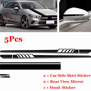 5x Sports Racing Stripes Universal Car Hood Body Decal Rearview Mirror Sticker