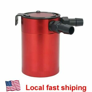 Universal Baffled 2 Port Oil Catch Can Tank Compact Auto Air Oil Separator Red