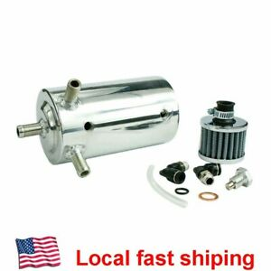 Car Universal Aluminum Motor Oil Reservoir Catch Tank Can With Breather Filter
