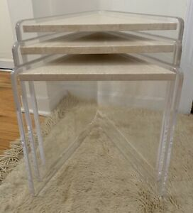 Lucite Set 3 Thick Honed Travetine Nesting Tables Vintage Mid Century Modern